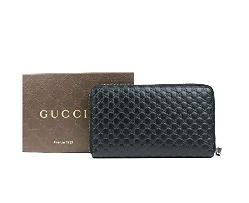 Gucci Unisex Black GG Guccissima Leather Zip Around Wallet 391465 1000 ()