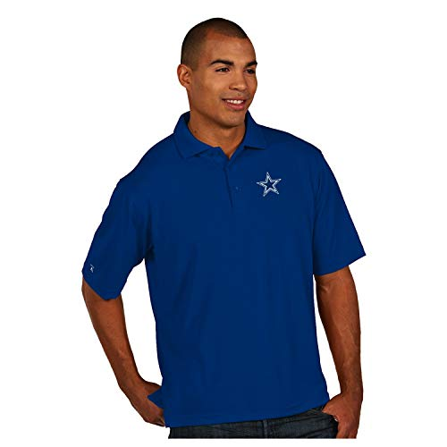 Dallas Cowboys NFL Mens Antigua Pique Xtra Lite Polo, Royal, 2XL