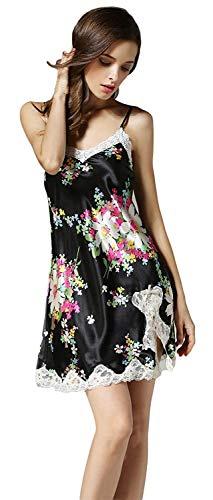 Splice Schwarz Sin V cuello Mujer Pijama Clásico Moda Vintage Florales Camisones Mangas Cortos Sling Camisón Silk Mujeres Verano Elegante Sleepwear Vestido Encaje pzwfx1qZ