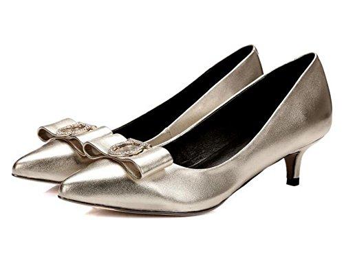 Tacco fiocco insieme dei piedi GOLD punta profonda sposa basso bocca pink bocca 39 le ha scarpe fiori della poco da XIE 38 strass dOwEqx7d