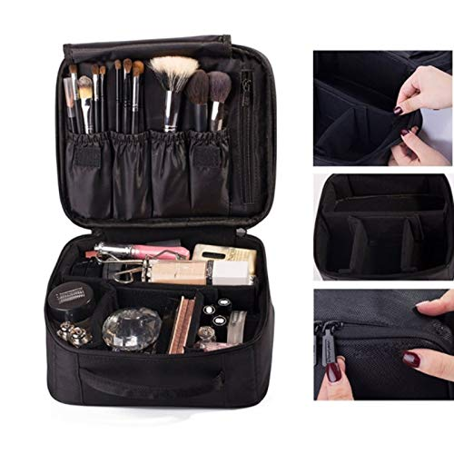 Cosmetic Bags & Cases - Portable Makeup Bag Cosmetic Storage Case Toiletry Organizer With Adjust Divider Black Zipper Oxford - Case Bedroom Shower Under Storage Family Dresser Insert Carrier Rac
