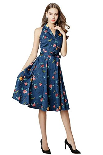 Navy Dress Top 8 Number Floral S Fashion Vintage 5XL 20 9 Sizes Halter 0R4wwxXEq