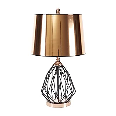 """Silverwood CPLT1484 Geoff Geometric Cage Table Lamp with Copper Shade, 25"""" H, Black"""