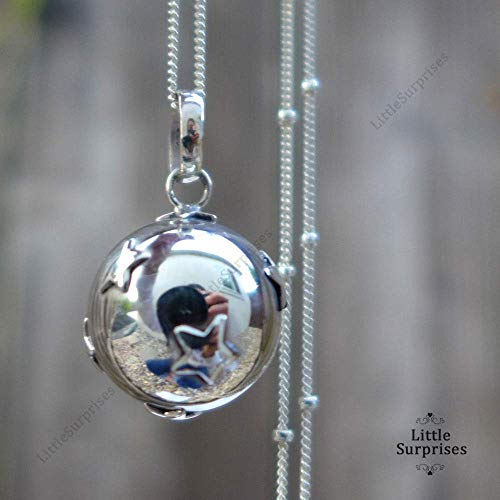 - 16mm Little Stars Chime Sound Harmony Ball Bali Sterling Silver Pendant Necklace 36