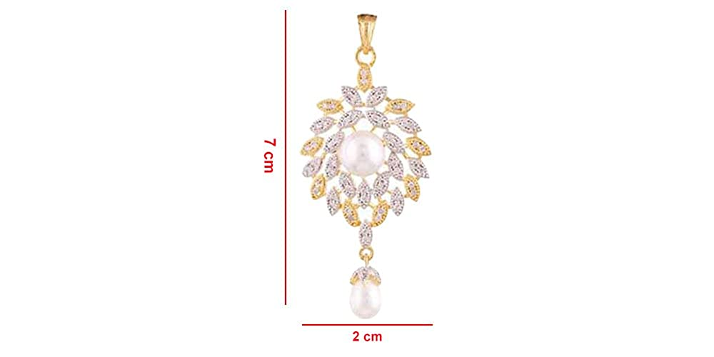 Girls White /& Gold with Pearl Terramart/_ Stone Pendent Set/_Fashion Jewellery for Women