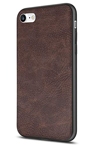 Salawat for iPhone 7 Case, Slim PU Leather iPhone 8 Case Vintage Shockproof Phone Case Cover Lightweight Premium Soft TPU Bumper Hard PC Hybrid Protective Case for iPhone 7/8 (Dark Brown) (Pu Slim Design Leather)