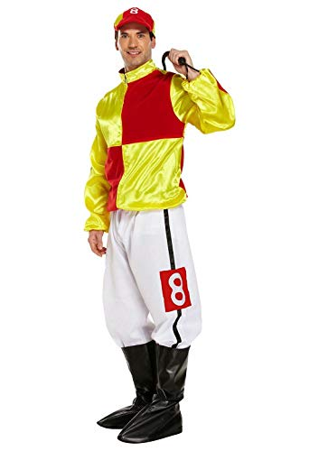 MA ONLINE Mens Jockey Horse Rider Uniform Costume Adults Stag Do Sports Wear Complete Outfit Red/Yellow One Size (Fits All)]()
