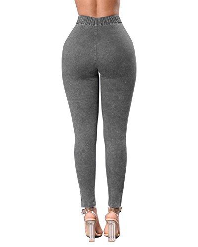 Jeans Up Alta Leggins Guiran A Donna Biker Grigio Vita Stretch Skinny Strappati Pantaloni Leggings Push Boyfriend Jeggings 0ZS5wZq7
