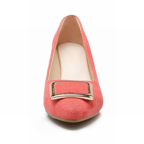 Charm Foot Womens Fashion Square Buckle Kitten Heel Pumps Shoes Pink vYTOdfPdX