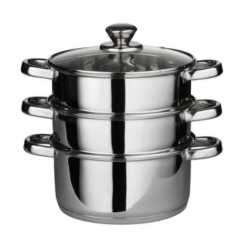Premier Housewares Steamer with Glass Lid - 22 cm - Stainless Steel