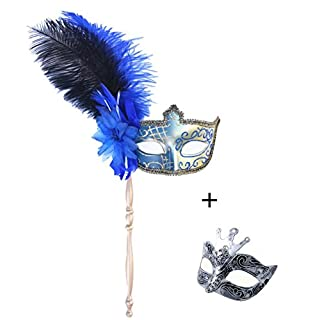 couple mask for women and men masquerade carnival mardi gras costume on stick halloween party mask