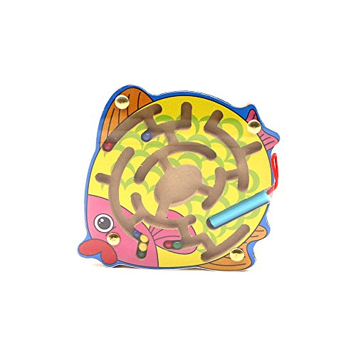 Magnetic Wooden Fish Labyrinth Maze and Puzzle Toy - Portable Baby and Toddler Travel Game for the Car, Plane, Restaurant or Home