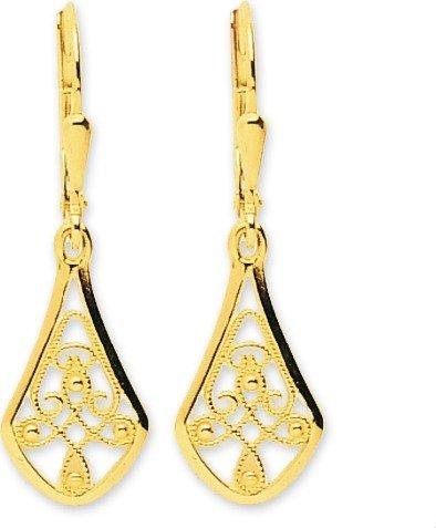 AYDA - Boucles d'oreilles Pendantes - Or Jaune 9 carat - Systèmes Dormeuses - www.diamants-perles.com