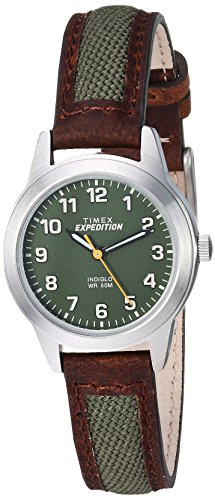 Watch Green Leather Strap (Timex Women's TW4B12000 Expedition Field Mini Brown/Green Nylon/Leather Strap Watch)