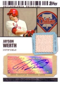 2009 Topps Ticket to Stardom #TSAR-JW Jayson Werth Authentic Autograph Game Used Bat Baseball Card - Only 499 (Jayson Werth Game)