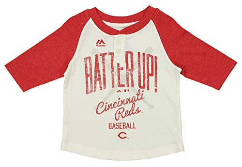 Outerstuff MLB Toddler's Batter Up 3/4 Sleeve Henley Tee, Cincinnati Reds 3T