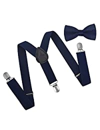 Brooben Child Kids Suspenders Bowtie Set - Adjustable Length Suspender with Bow Tie Set for Boys and Girls SPBT1-Navy