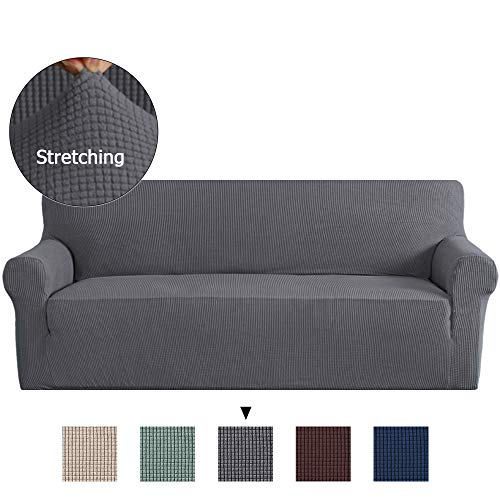 Piece Leaf 3 Sofa (1 Piece Sofa Covers Slipcovers for Furniture Sofa, Gray Spandex Slipcover/Lounge Cover, Stretch Anti-Wrinkle Slip Resistant Form Fit Slipcover 3 Seater Sofa Cover Gray)