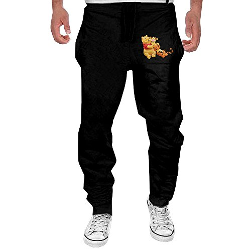 Pooh Sweatpants (Men's My Friends Tigger And Pooh Black Sweatpant Sport Casul Pant X-Large)