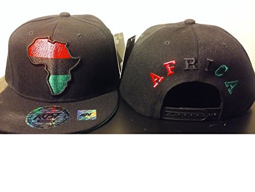 RBG Snapback Africa Hat Red Black Green Embroidered Pan African BLACK by Chris Monroe STL