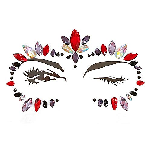 Inverlee 1 Sheet Facial Gems Adhesive Glitter Jewel Tattoos Stickers Wedding Festival Party Body Makeup (A1) ()