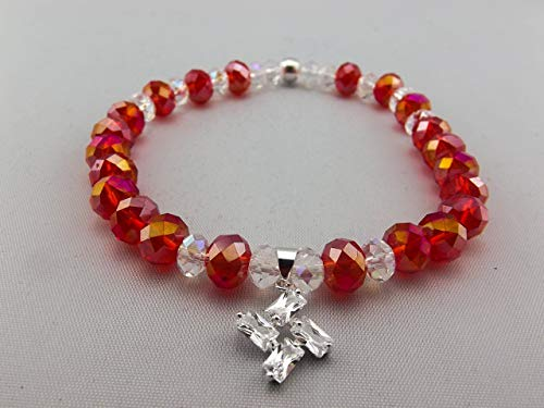 Stretch Bracelet - Red - Orange & Clear