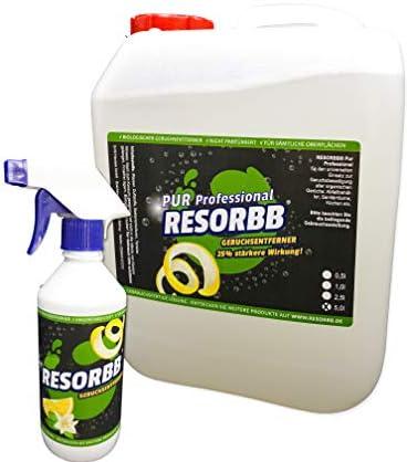 RESORBB® PUR Professional 5l. + leere Sprühflasche 25% effizientere Geruchsneutralisierung sowie Fleckenentfernung …