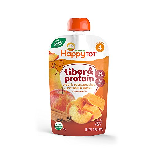 Happy Tot Fiber and Protein, Organic Apple, Peach, Pumpkin and Cinnamon, 4 Ounce
