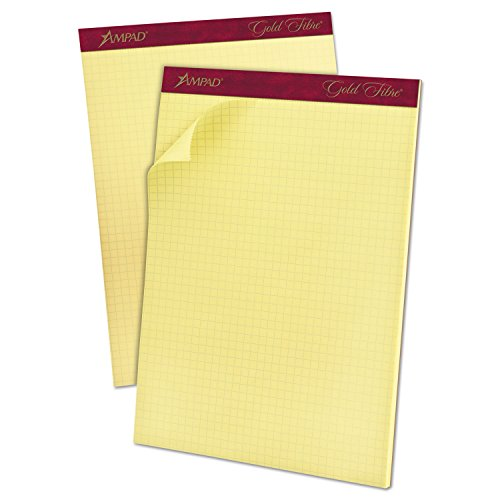 Ampad 22143 Gold Fibre Canary Quadrille Pad, 8 1/2 x 11 3/4, Canary, 50 Sheets 2 Side Quadrille Pads