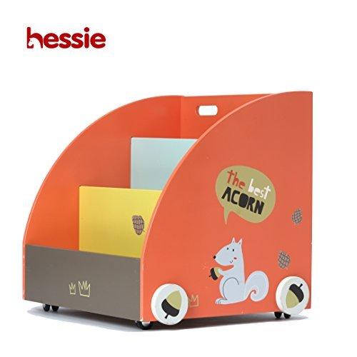 Hessie Little Toddler Kids Portable Wooden Bookcase Bookshelf on Wheels,  Book Storage Shelf 43b929003f