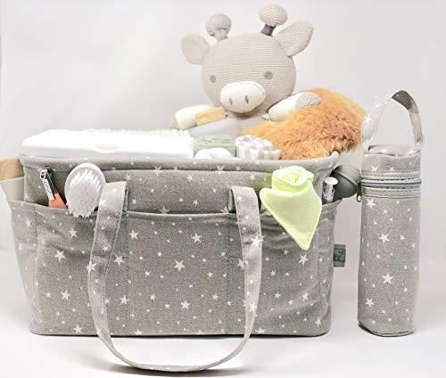 (Stars Canvas Changing Table Organizer Nursery Baby Diaper Caddy by Mome & Me- Extra Large Durable Storage Perfect for Baby Registry, Crafts, Toys,)