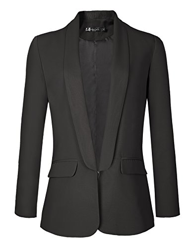 - Urban CoCo Women's Office Blazer Jacket Open Front (L, Black)