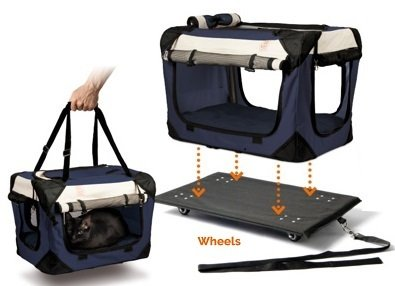 """PetLuv """"Pull-Along Rolling Cat & Dog Carrier & Travel Crate on Wheels Locking Zippers Matching Comfy Plush Nap Pillow Reduces Anxiety - Wheeled Base Easily Removes to Become A Regular Carrier"""