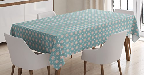 Lunarable Floral Tablecloth, Retro Style Symmetrical Pattern with Flower Motifs Pastel Colored Romantic Spring, Dining Room Kitchen Rectangular Table Cover, 52 W X 70 L inches, Teal Coral