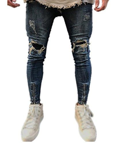Vaqueros Mengmiao Jeans Pantalones Vaqueros Slim Hombre Skinny Azul para Straight Delgados TYqgTWr