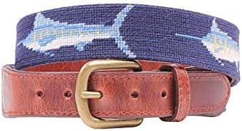 Billfish Needlepoint Belt in Dark Navy by Smathers & Branson / Billfish Needlepoint Belt in Dark Navy by Smathers & Branson