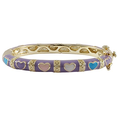 Ivy and Max Gold Finish Lavender Enamel Multi Hearts Girls Bangle Bracelet (35 mm: age 0-10 months) ()