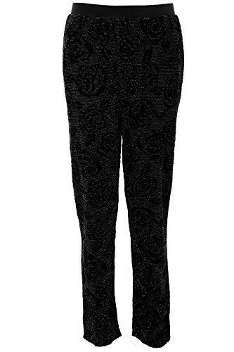 FANTASIA BOUTIQUE Damas Lurex Floreado Impresión Flock Brillante Mujer Harén Corte Holgado Pantalones Negro