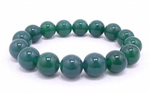 12mm Agate Green Beads Bracelet with Elasticity