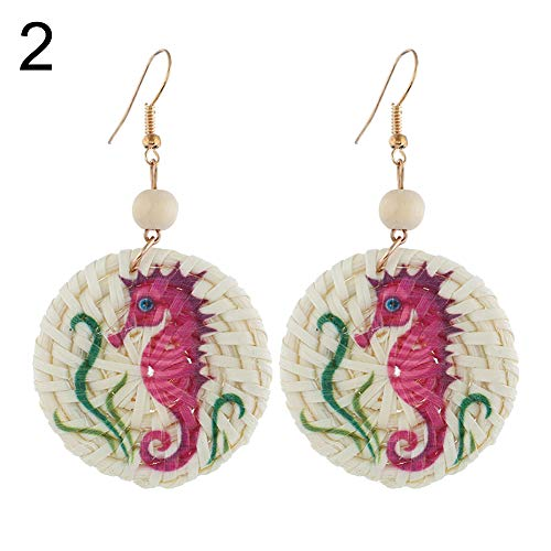 Starlit Dolphin Seahorse Parrot Pattern Round Rattan Charm Lady Statement Hook Earrings 2# (Dolphins Round Earrings)