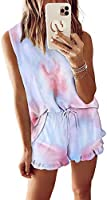 zcdyn 2pcs Womens Tie Dye Printed Ruffle Pajama Sets Lounger Sleep Leisure Wear