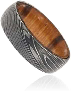 7mm Wide Damascus Steel Ring Etched Damascus Steel Bands Wedding Rings with a Marble Wood Sleeve