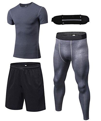 信頼驚いた予約Nasis コンプレッションウェア メンズ トレーニング スポーツウェア ハーフパンツ 吸汗速乾 3点セット ランニング ポーチ付き