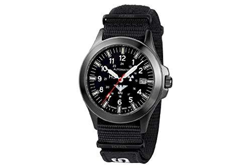 KHS Tactical Watches Black Platoon Automatic KHS.BPA.NXT7 rostfritt stål IPB Nato XTAC Black