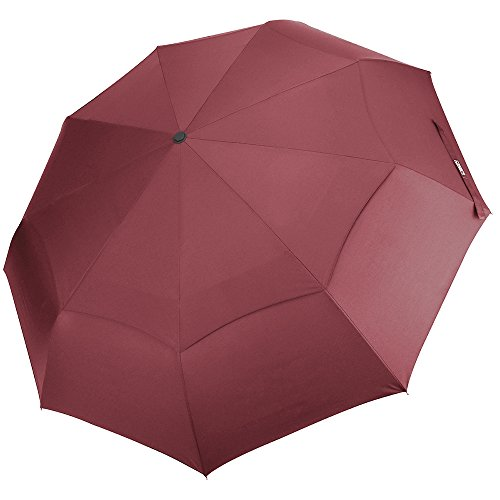 G4Free Compact Folding Travel Umbrella Windproof 48 Inch 9 Ribs Double Canopy Vented with Auto Open Close for Women Travel Red - Sturdy, Portable, Larger Than Normal(Wine Red)