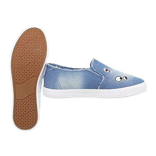 Ital-Design Sneakers Low Damenschuhe Schnürsenkel Freizeitschuhe Blau R57