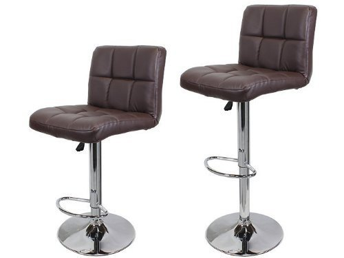 Ediors Set Of 2 Swivel Elegant PU Leather Adjustable Hydraulic Morden Bar Stools Chairs Coffee Brown