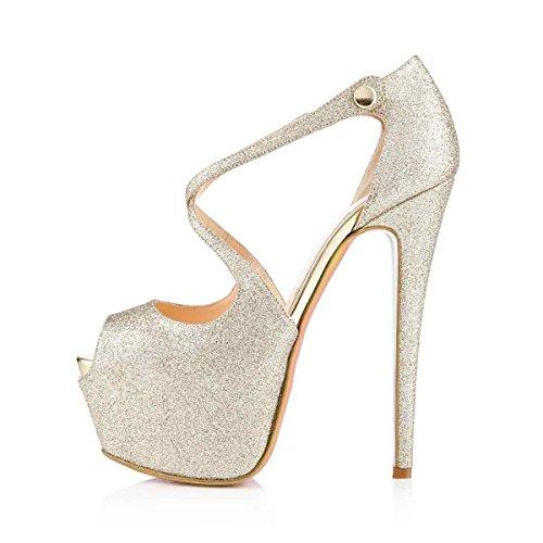 Arc-en-Ciel zapatos de las mujeres del alto talón de la plataforma de la correa del calzado Silver2