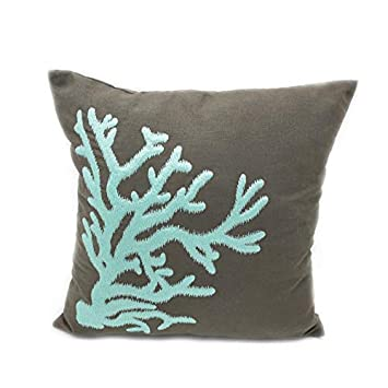 Amazon.com: Turquesa Coral Decorativo Throw Pillow Cover ...