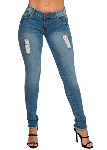ModaXpressOnline Women's Junior Ladies Low Rise 2 Button Distressed Butt Lifting Levanta Cola Raw Hem Med Wash Skinny Jeans 10220W